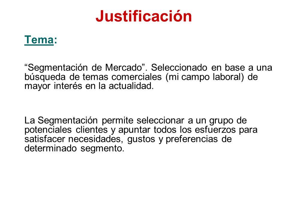 Justificación Tema:
