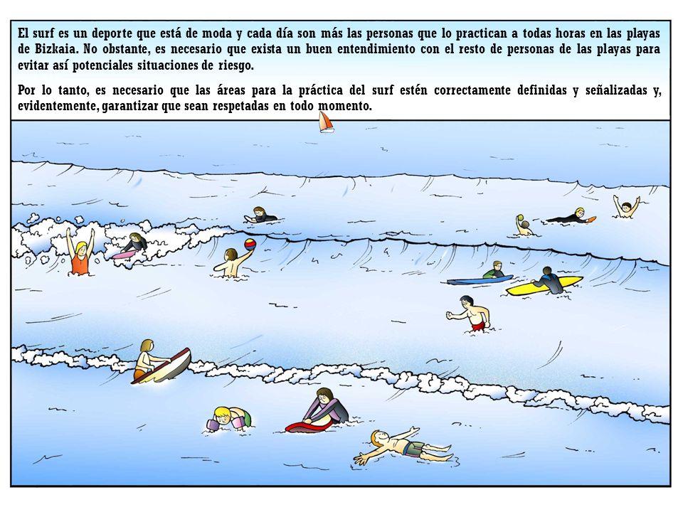 El surf es un deporte que está de moda y cada día son más las personas que lo practican a todas horas en las playas de Bizkaia. No obstante, es necesario que exista un buen entendimiento con el resto de personas de las playas para evitar así potenciales situaciones de riesgo.