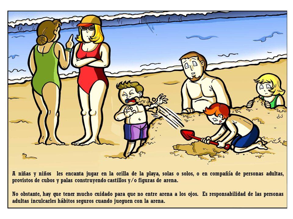 A niñas y niños les encanta jugar en la orilla de la playa, solas o solos, o en compañía de personas adultas, provistos de cubos y palas construyendo castillos y/o figuras de arena.