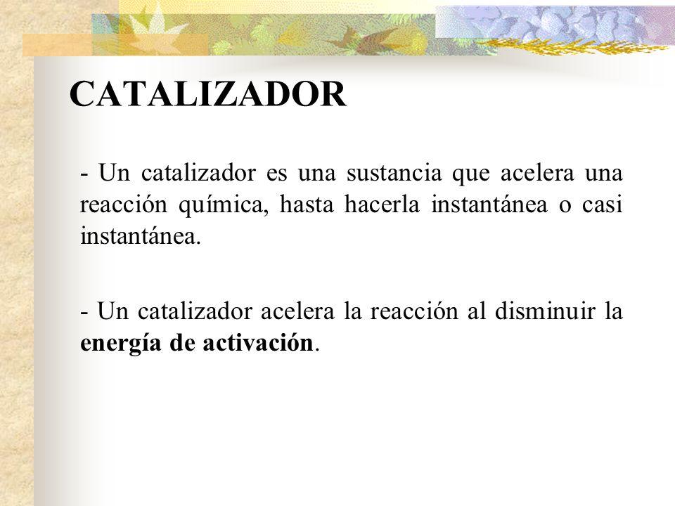 CATALIZADOR - Un catalizador es una sustancia que acelera una reacción química, hasta hacerla instantánea o casi instantánea.
