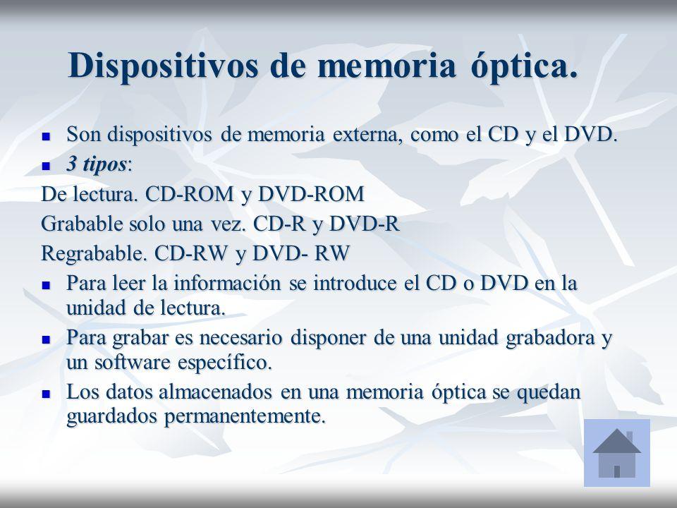 Dispositivos de memoria óptica.