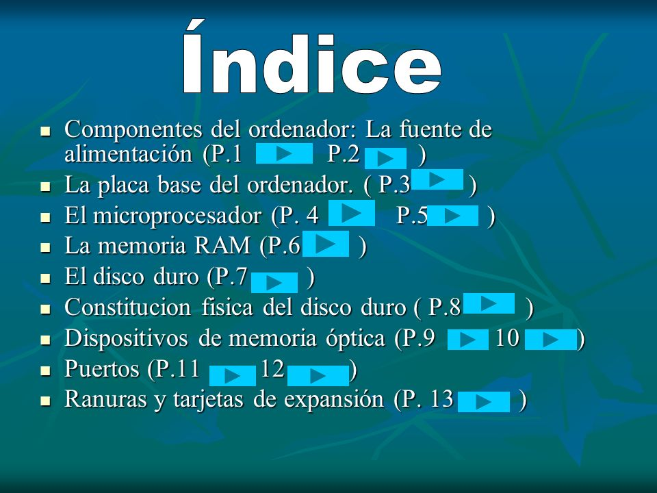 Índice Componentes del ordenador: La fuente de alimentación (P.1 P.2 )