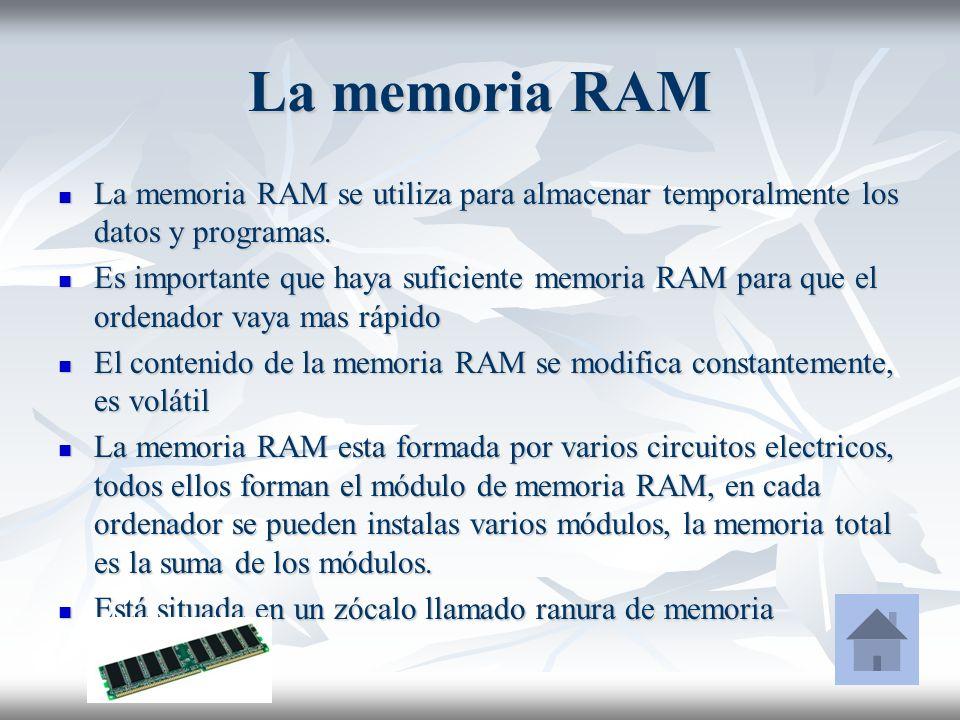 La memoria RAM La memoria RAM se utiliza para almacenar temporalmente los datos y programas.