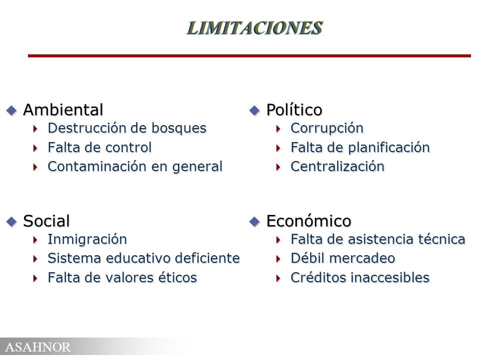 LIMITACIONES Ambiental Social Político Económico