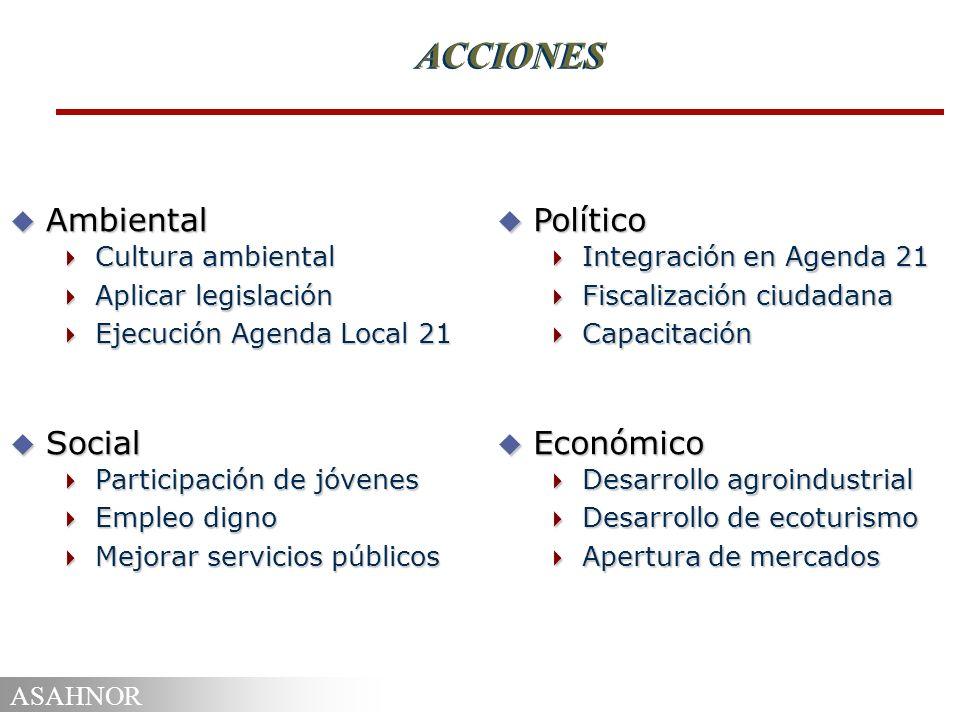 ACCIONES Ambiental Social Político Económico Cultura ambiental