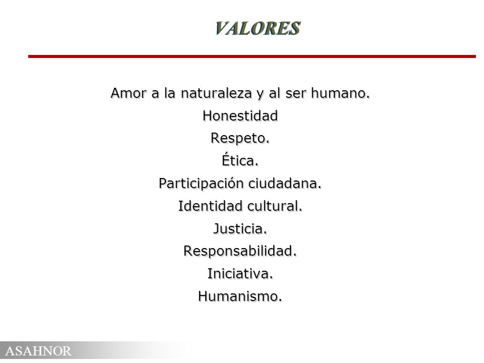 VALORES Amor a la naturaleza y al ser humano. Honestidad Respeto.