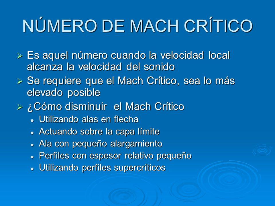 NÚMERO DE MACH CRÍTICO Es aquel número cuando la velocidad local alcanza la velocidad del sonido.