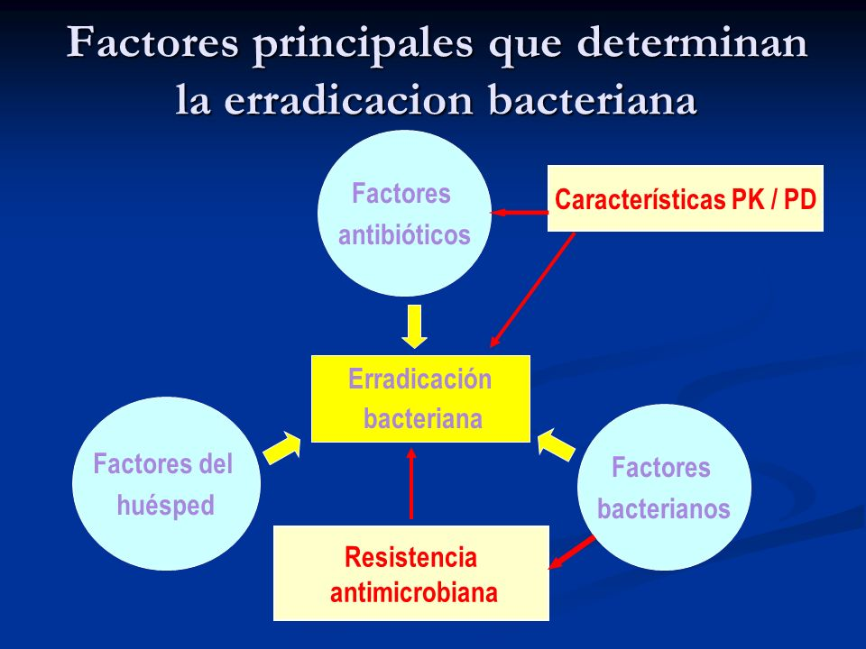 Factores principales que determinan la erradicacion bacteriana