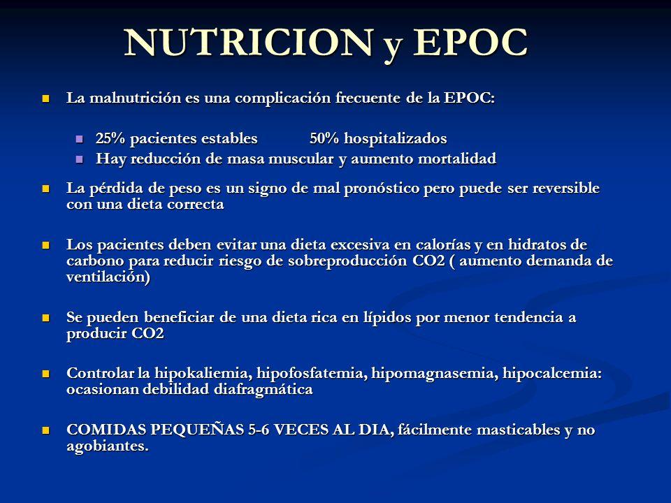 NUTRICION y EPOC La malnutrición es una complicación frecuente de la EPOC: 25% pacientes estables 50% hospitalizados.