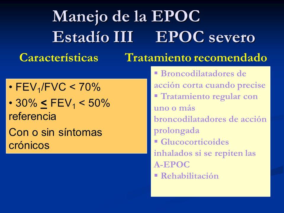 Manejo de la EPOC Estadío III EPOC severo