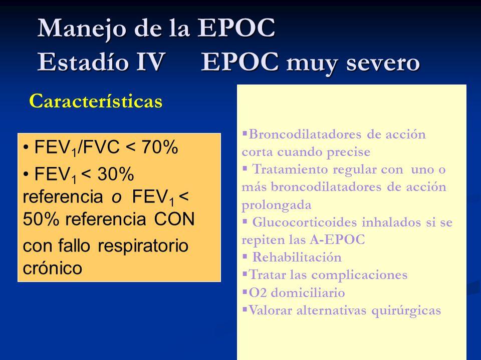 Manejo de la EPOC Estadío IV EPOC muy severo