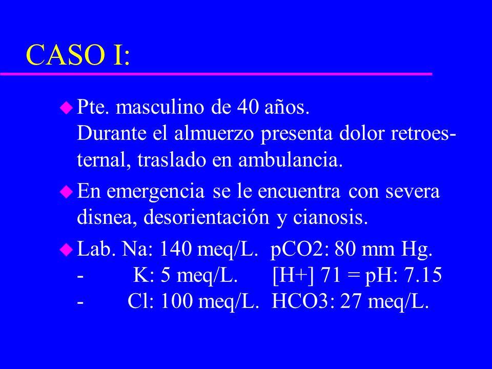 CASO I: Pte. masculino de 40 años. Durante el almuerzo presenta dolor retroes- ternal, traslado en ambulancia.