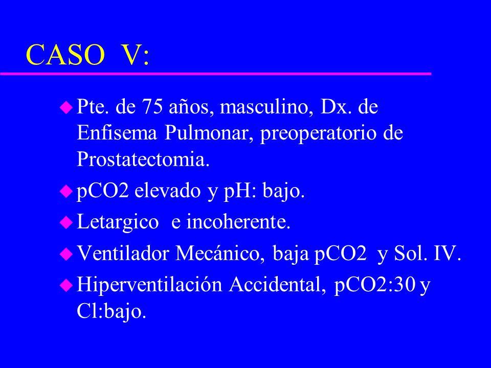CASO V: Pte. de 75 años, masculino, Dx. de Enfisema Pulmonar, preoperatorio de Prostatectomia. pCO2 elevado y pH: bajo.
