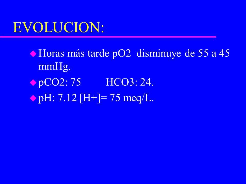 EVOLUCION: Horas más tarde pO2 disminuye de 55 a 45 mmHg.