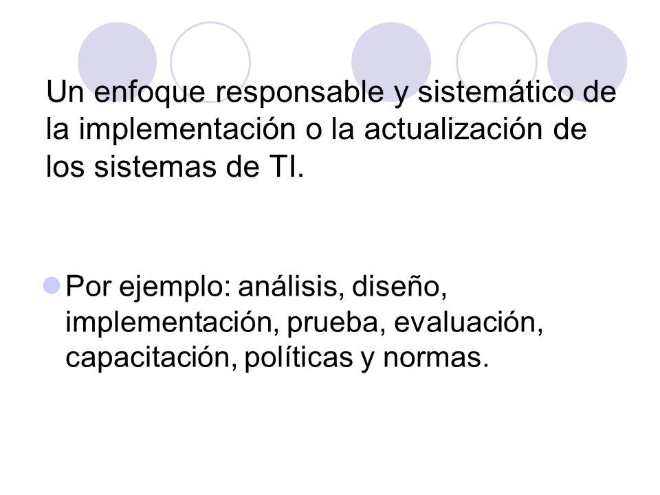 Un enfoque responsable y sistemático de la implementación o la actualización de los sistemas de TI.