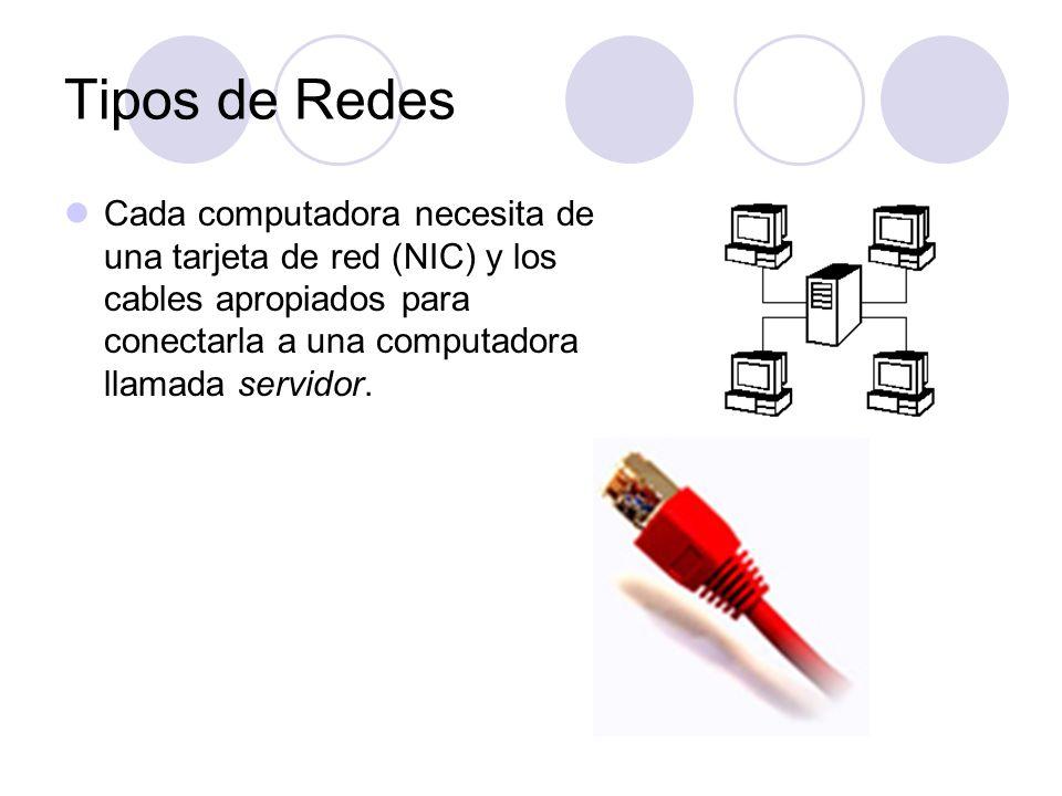 Tipos de Redes Cada computadora necesita de una tarjeta de red (NIC) y los cables apropiados para conectarla a una computadora llamada servidor.