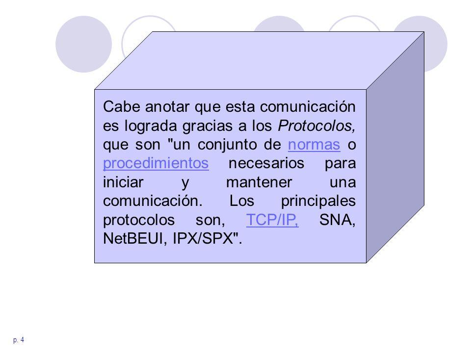Cabe anotar que esta comunicación es lograda gracias a los Protocolos, que son un conjunto de normas o procedimientos necesarios para iniciar y mantener una comunicación. Los principales protocolos son, TCP/IP, SNA, NetBEUI, IPX/SPX .