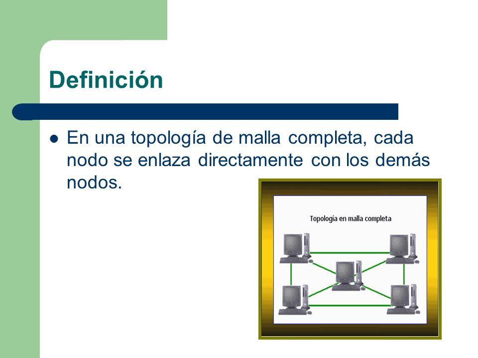 Definición En una topología de malla completa, cada nodo se enlaza directamente con los demás nodos.