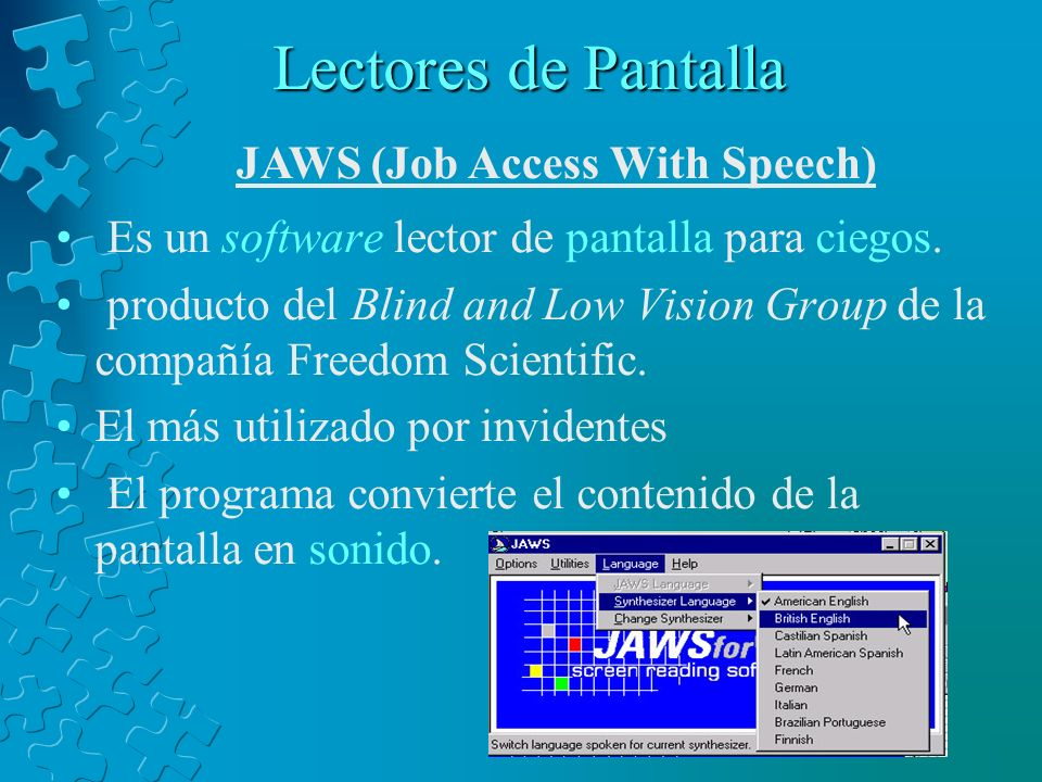 Lectores de Pantalla JAWS (Job Access With Speech)