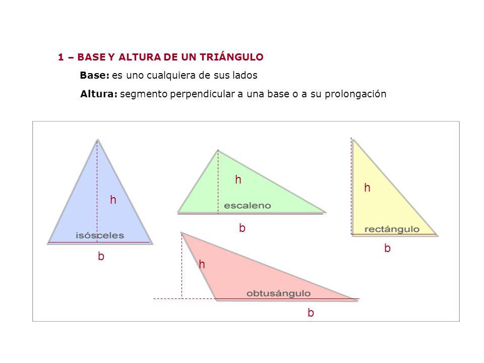 h h h b b b h b 1 – BASE Y ALTURA DE UN TRIÁNGULO