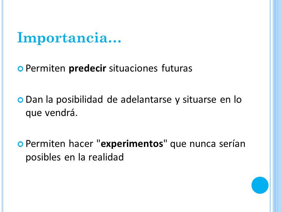 Importancia… Permiten predecir situaciones futuras