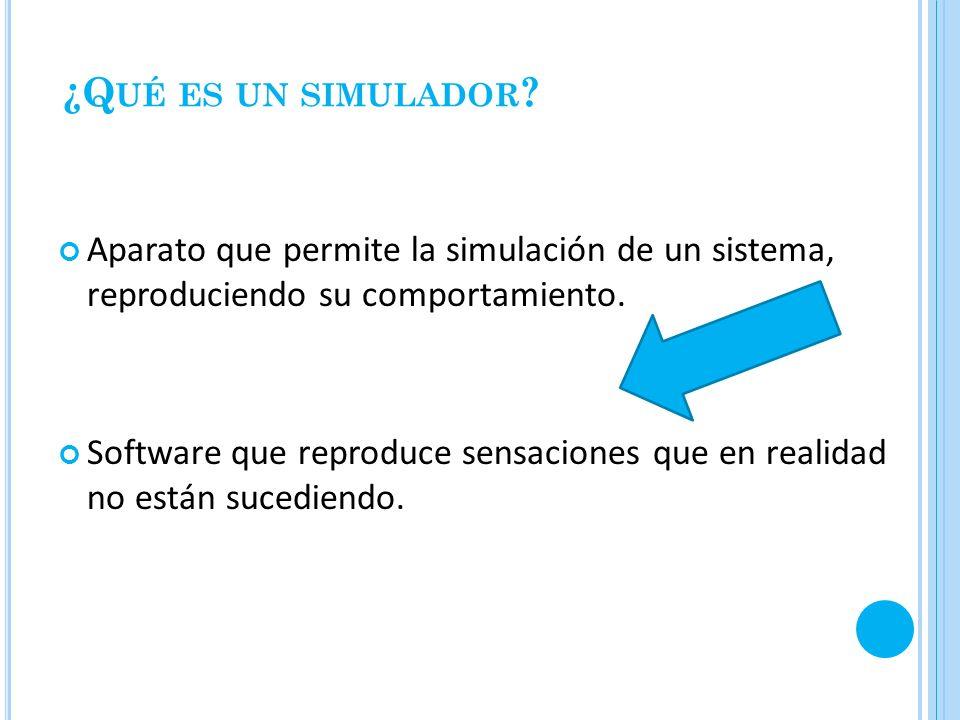 ¿Qué es un simulador Aparato que permite la simulación de un sistema, reproduciendo su comportamiento.