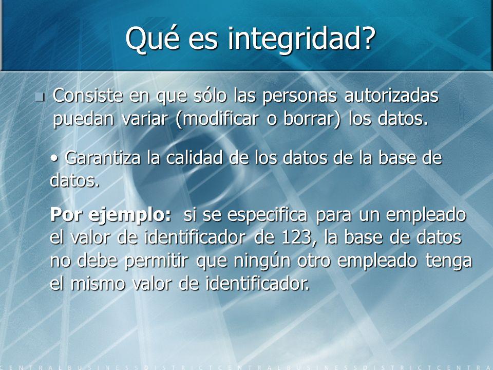 Qué es integridad Consiste en que sólo las personas autorizadas puedan variar (modificar o borrar) los datos.