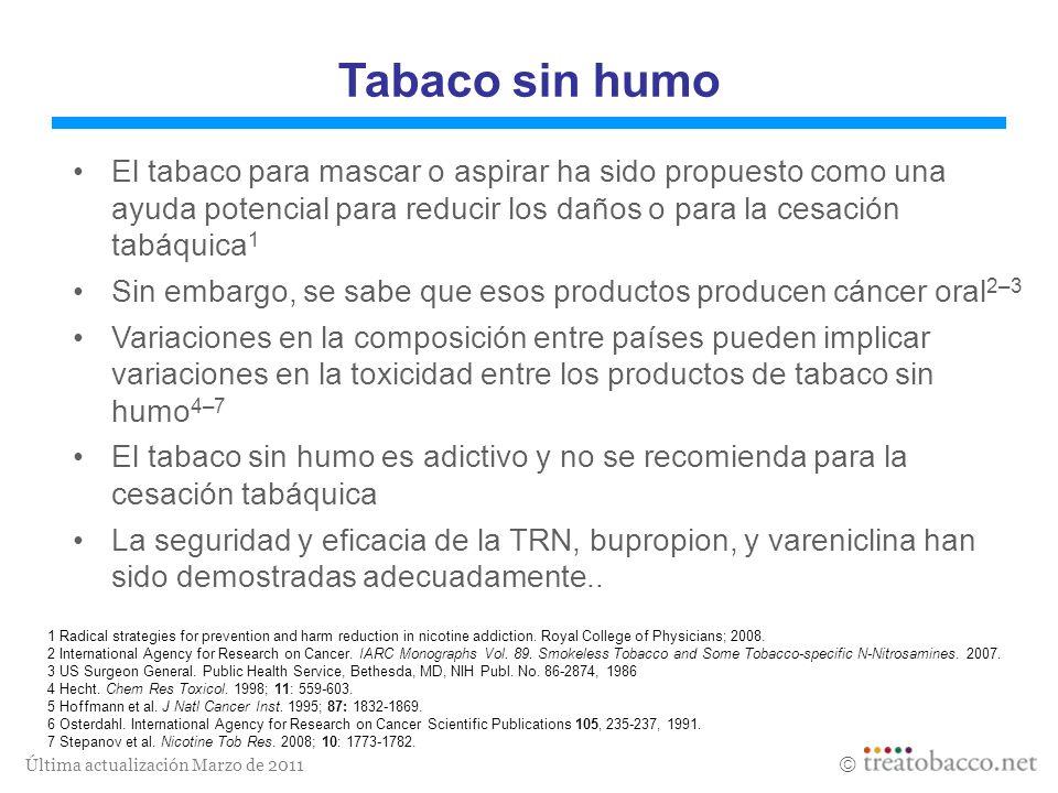 Tabaco sin humo El tabaco para mascar o aspirar ha sido propuesto como una ayuda potencial para reducir los daños o para la cesación tabáquica1.