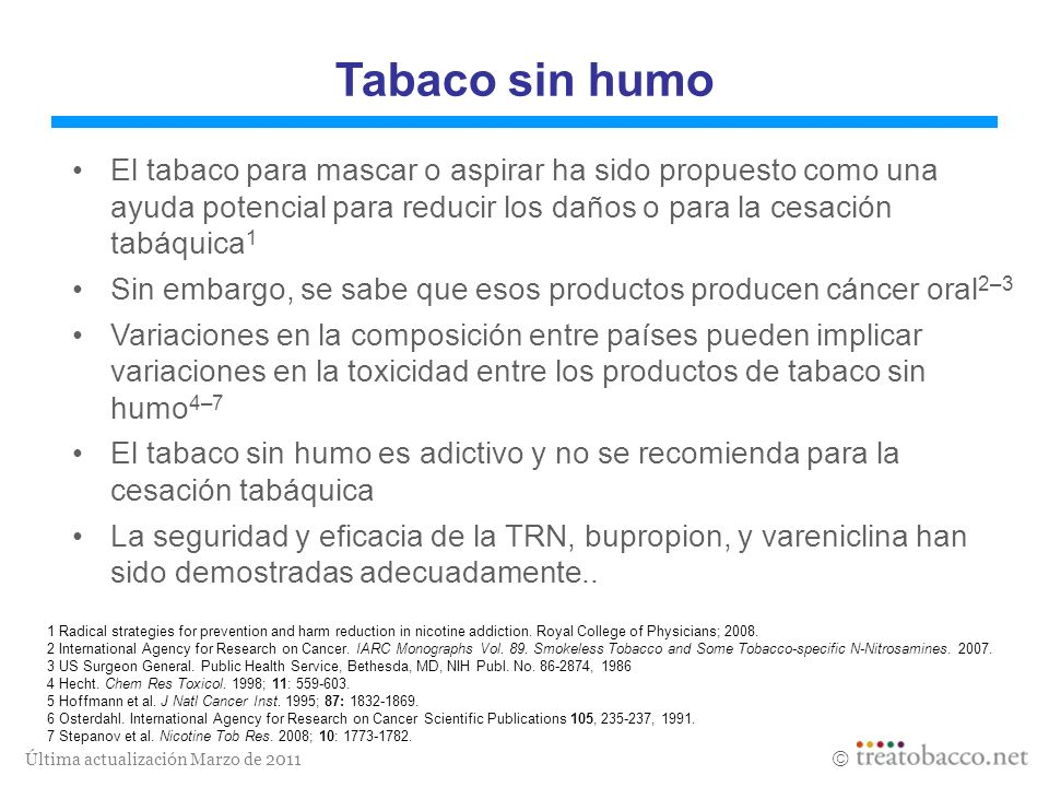 Tabaco sin humoEl tabaco para mascar o aspirar ha sido propuesto como una ayuda potencial para reducir los daños o para la cesación tabáquica1.