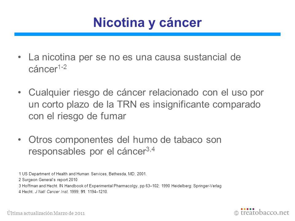 Nicotina y cáncerLa nicotina per se no es una causa sustancial de cáncer1-2.