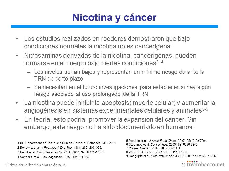Nicotina y cáncerLos estudios realizados en roedores demostraron que bajo condiciones normales la nicotina no es cancerígena1.