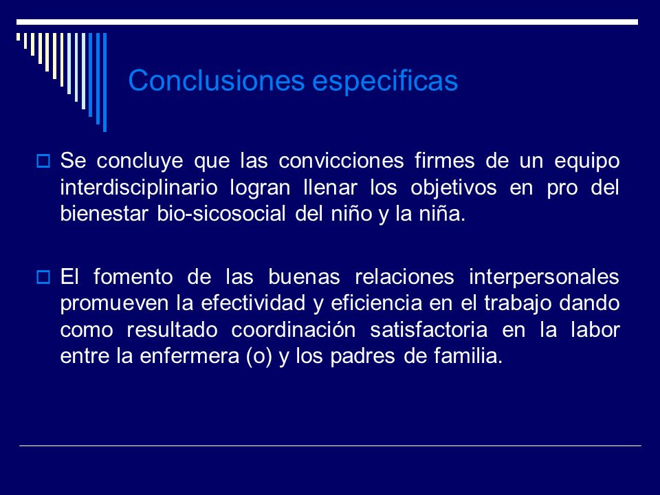 Conclusiones especificas