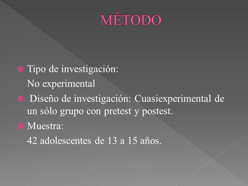 MÉTODO Tipo de investigación: No experimental