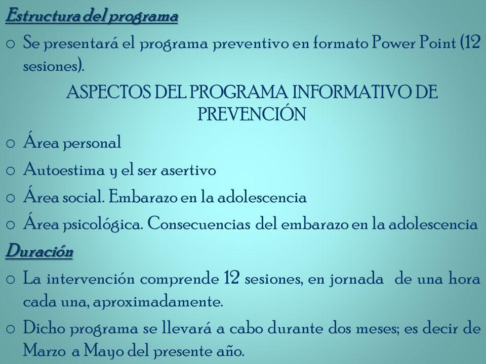 ASPECTOS DEL PROGRAMA INFORMATIVO DE PREVENCIÓN