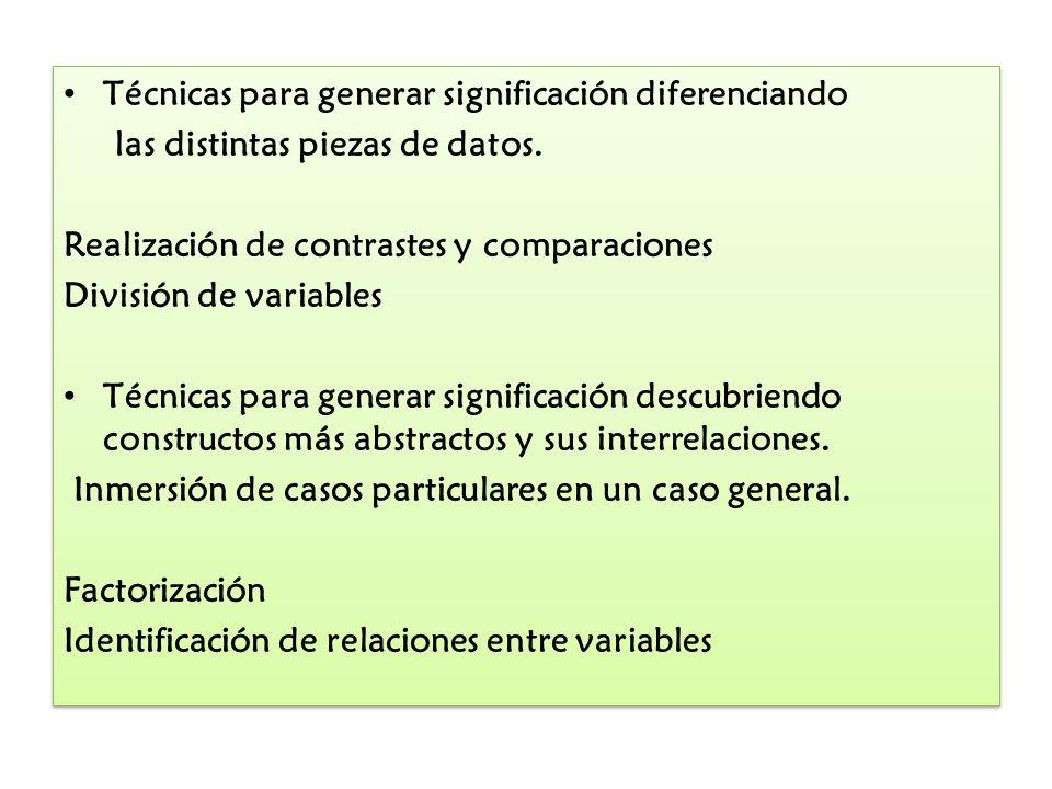 Técnicas para generar significación diferenciando