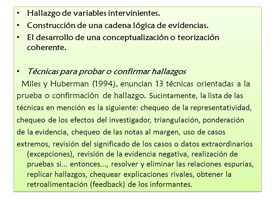 Hallazgo de variables intervinientes.