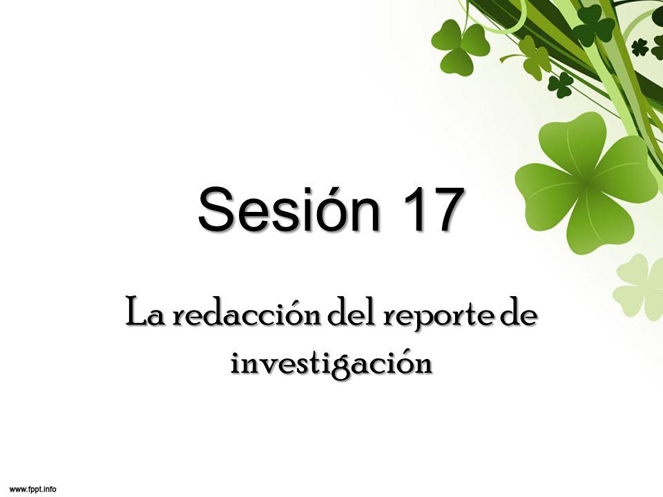 La redacción del reporte de investigación