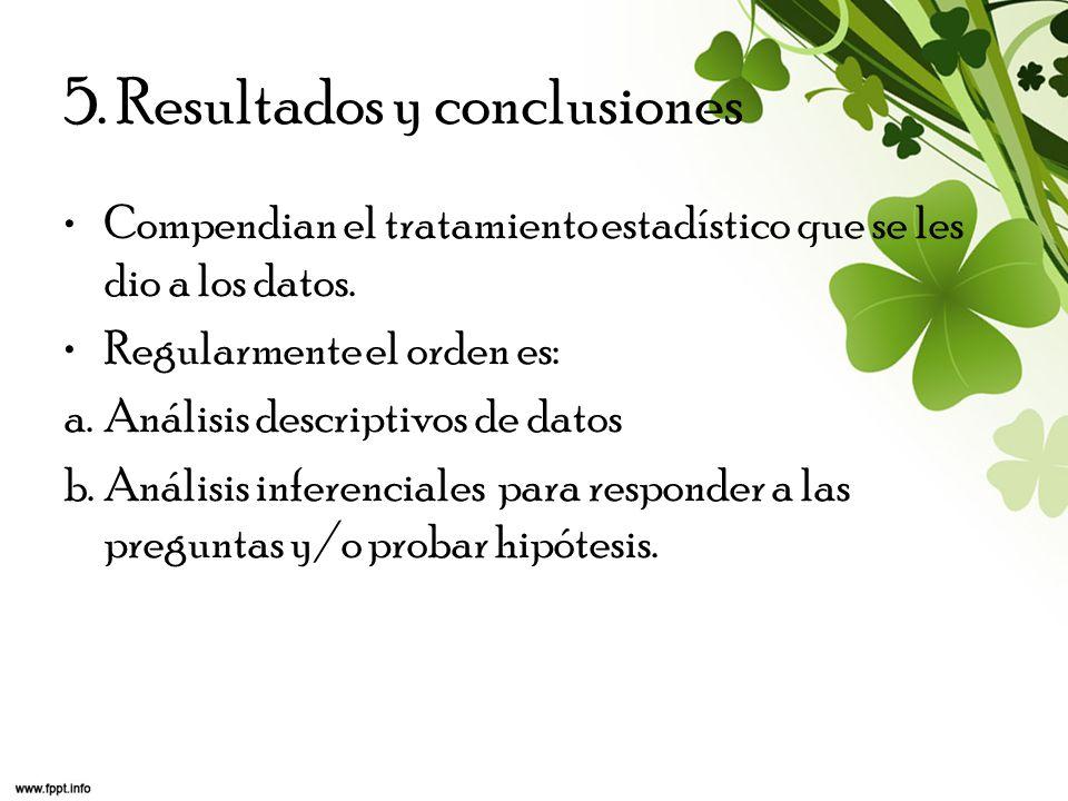 5. Resultados y conclusiones