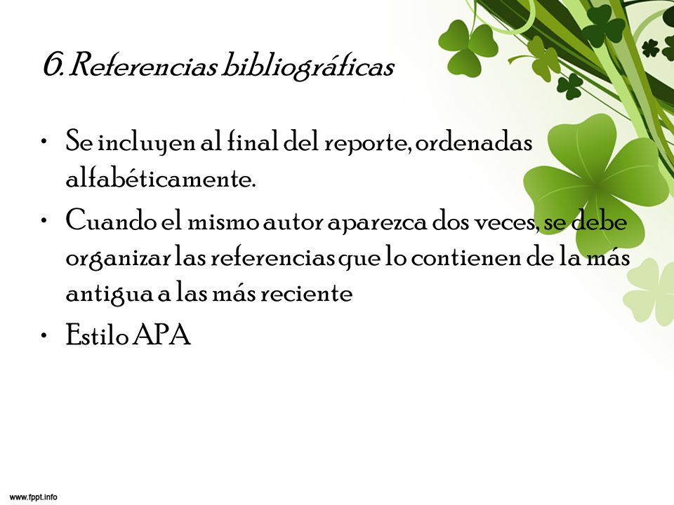 6. Referencias bibliográficas