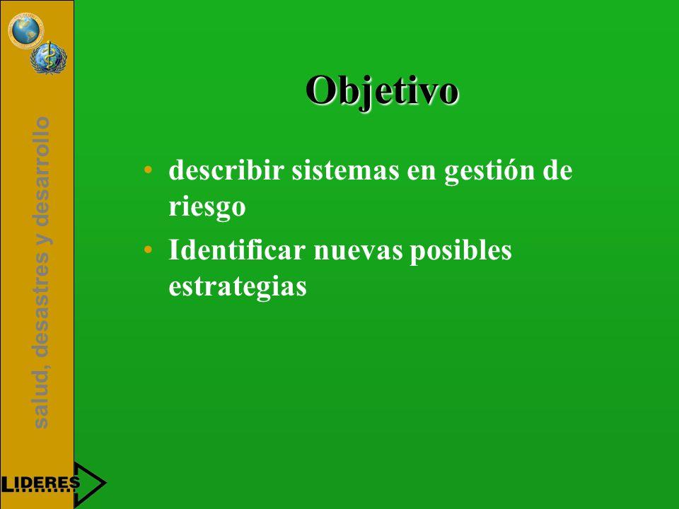 Objetivo describir sistemas en gestión de riesgo