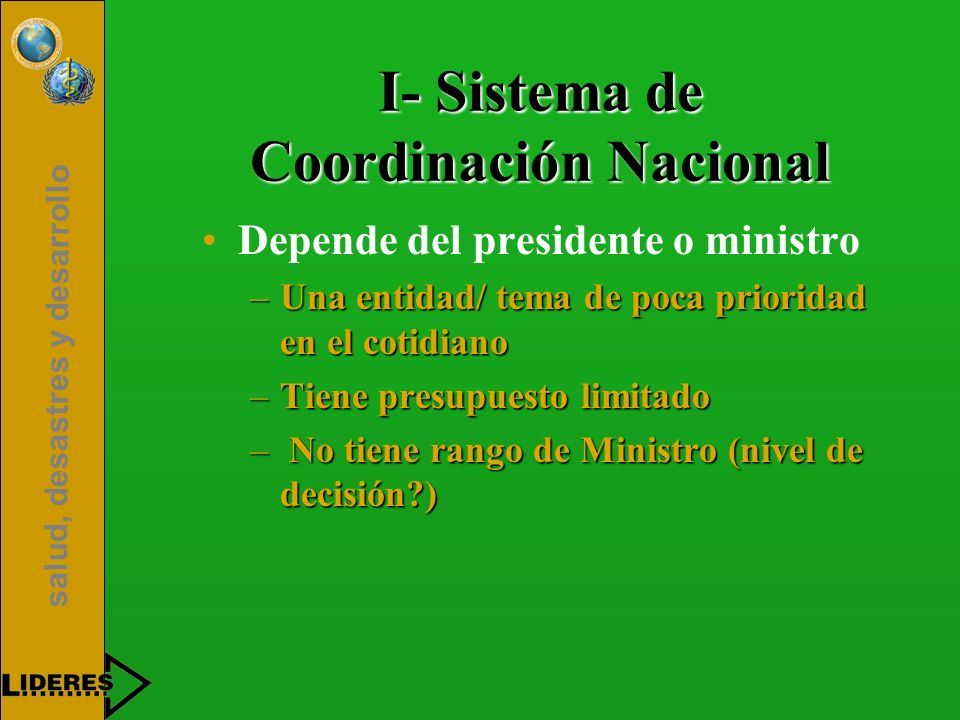 I- Sistema de Coordinación Nacional