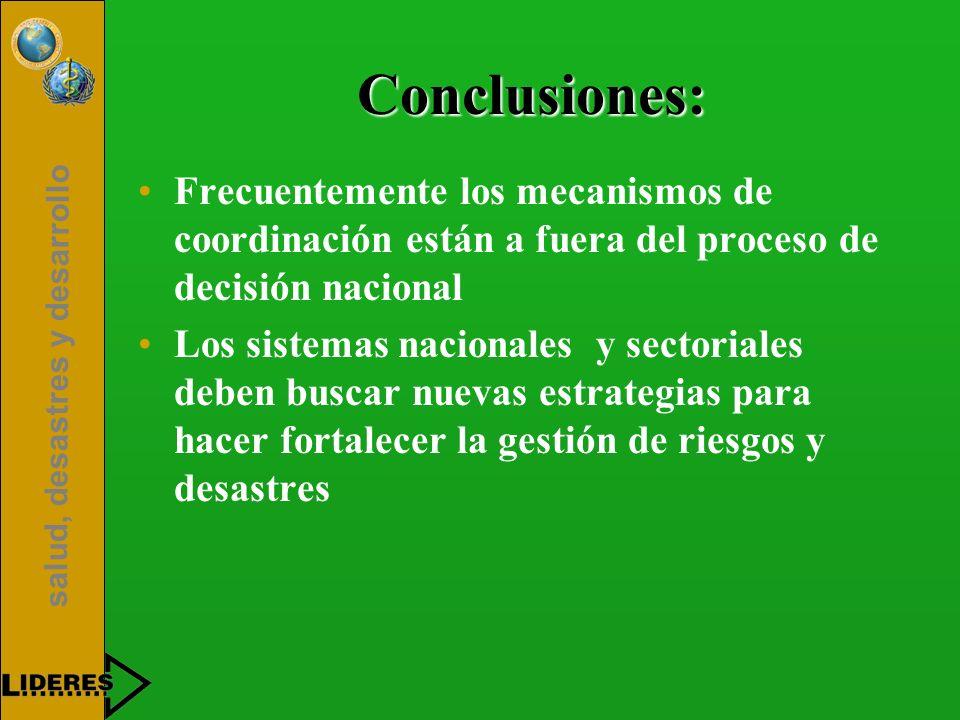 Conclusiones: Frecuentemente los mecanismos de coordinación están a fuera del proceso de decisión nacional.