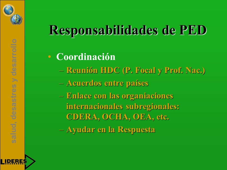 Responsabilidades de PED