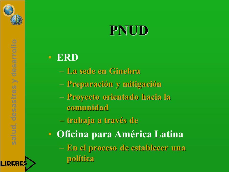 PNUD ERD Oficina para América Latina La sede en Ginebra