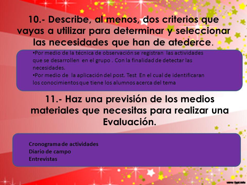 10.- Describe, al menos, dos criterios que vayas a utilizar para determinar y seleccionar las necesidades que han de atederce.