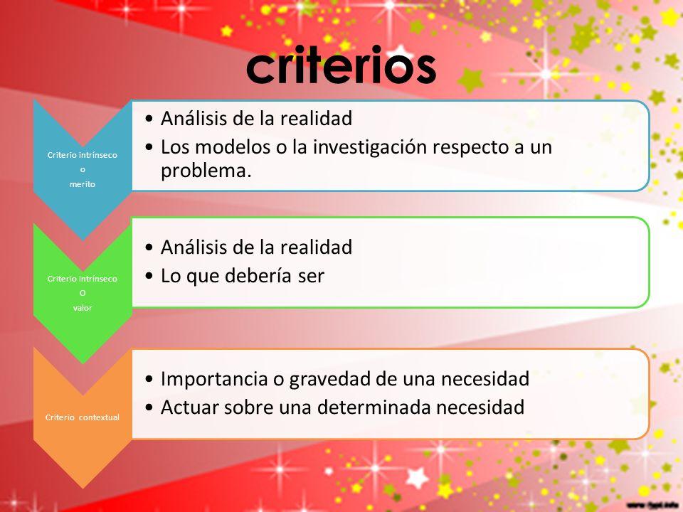 criterios Criterio intrínseco merito o Análisis de la realidad