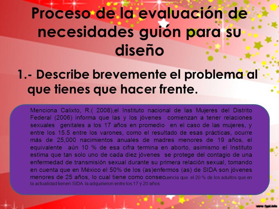Proceso de la evaluación de necesidades guión para su diseño