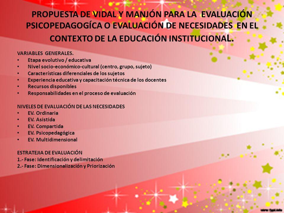 PROPUESTA DE VIDAL Y MANJÓN PARA LA EVALUACIÓN PSICOPEDAGOGÍCA O EVALUACIÓN DE NECESIDADES EN EL CONTEXTO DE LA EDUCACIÓN INSTITUCIONAL.