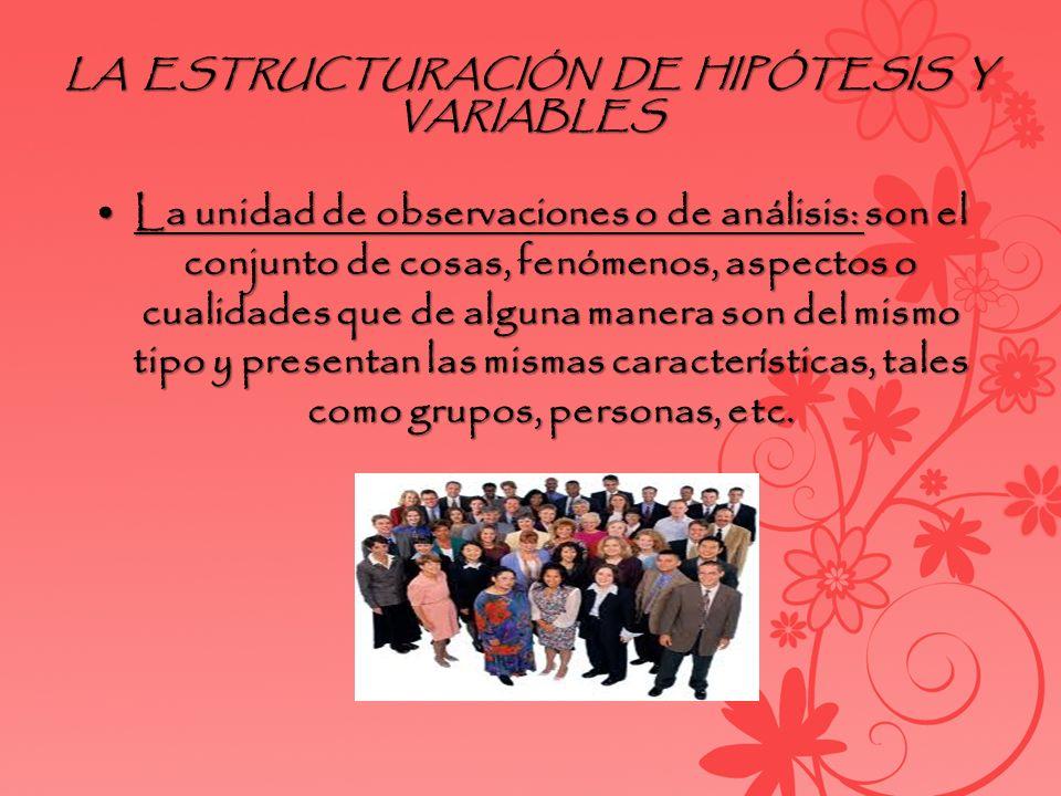 LA ESTRUCTURACIÓN DE HIPÓTESIS Y VARIABLES