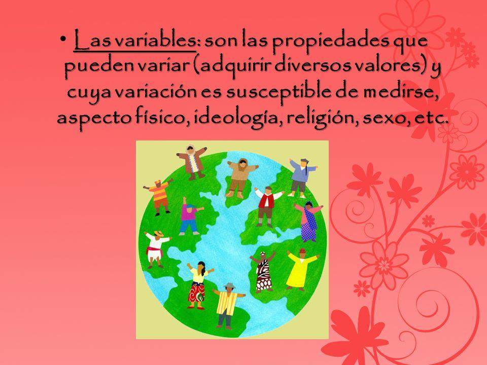 • Las variables: son las propiedades que pueden variar (adquirir diversos valores) y cuya variación es susceptible de medirse, aspecto físico, ideología, religión, sexo, etc.
